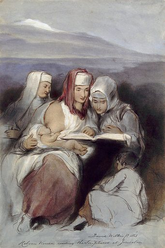 Three Jewish women, seated, reading the scriptures; one of them breastfeeding. Coloured lithograph by J Nash, 1843, after D Wilkie, 1841. Created 1843. Jewish women. Jerusalem. Contributors: Sir David Wilkie (1785–1841); Joseph Nash (1809–1878). Work ID: xh2p3hee.