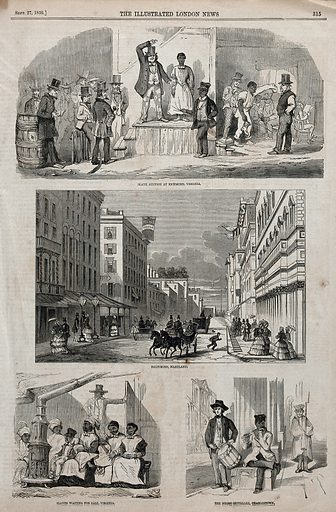 Top, a slave auction in Richmond, Maryland; centre, a coach on a street in Baltimore; bottom left, slaves waiting to be sold, Virginia; bottom right, a slave playing the flute. Engraving, 27 September 1857. Created 27 September 1857. Work ID: s3wajsdx.