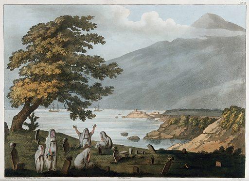 Beirut: veiled women in a burial ground. Aquatint by D Orme after FB Spilsbury, 4 June 1803. Created 4 June 1803. Contributors: F B Spilsbury; Daniel Orme (1766–1837). Work ID: k6nm3gxa.