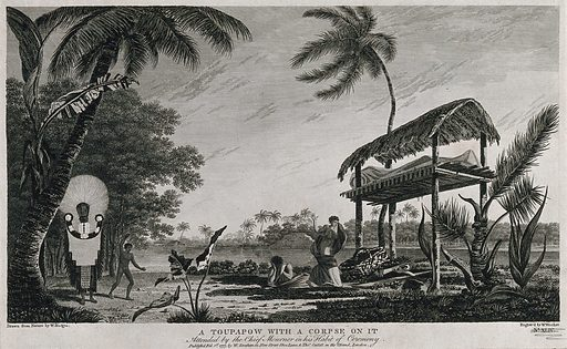 Tahiti: a funerary monument (toupapow) with a corpse on it, encountered by Cook on his second voyage, 1772–1775. Engraving by W Woollett after W Hodges, 1 February 1777. Created 1 February 1777. Contributors: William Hodges (1744–1797); William Woollett (1735–1785). Work ID: pt3jvr5r.