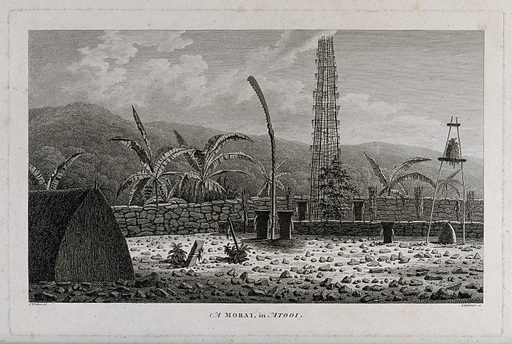 A morai, place of burial and worship, in Atooi (Kauai); encountered by Captain Cook on his third voyage (1777–1780). Engraving by D Lerpinière after J Webber, 1780/1785. Created 1780/1785. Contributors: John Webber (1751–1793); Daniel Lerpinière (1745–1785). Work ID: nu7cz5va.