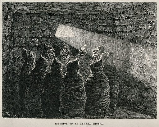 Arequipa, Peru: ten corpses inside a chulpa (mausoleum) among the Aymara tribe. Wood engraving by Charles Maurand after Edouard Riou, 1873. Created 1873. Aymara Indians. – Funeral customs and rites. Arequipa (Peru). Contributors: Edouard Riou (1833–1900); Paul. Marcoy; Charles Maurand (active 1863–1881). Work ID: sm5q8zt3.