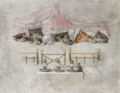 Six kittens asleep in bed with a mouse and candles. Six kittens, four tabbies, one ginger and one white, asleep in bed; a mouse and three extinguished candles in the foreground. Contributors: George Hope Tait. Work ID: z2ay2q7f.
