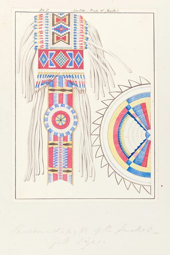 North American artefacts and places. Album of drawings and watercolours attributed to Thomas Bateman. Picture shows decorated shoulder strap of jacket. American Indian. Contributors: Thomas Bateman. Work ID: s25dnp5t.