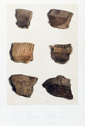 North American artefacts and places. Album of drawings and watercolours attributed to Thomas Bateman. Picture shows examples of Native American pottery. American Indian. Contributors: Thomas Bateman. Work ID: axm4z5yq.