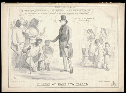 """Henry Brougham is praised by black ex-slaves for his part in their liberation, but criticized by children factory employees, on whom he turns his back. Lithograph by HH (Henry Heath). The ex-slaves are saying """"Ah! Massa Bro'am! You be poor Negro best friend. We no like work; climate too hot, poor negro too fat – ha! ha! ha!"""". Brougham says """"Poor unhappy negro! I have caused twenty millions of money, taken from the pockets of my fellow countrymen, to be spent in purchasing your freedom, but am woefully disappointed in its mis-application."""" The factory children are saying """"Cruel Lord! to turn his back on us poor factory children."""" """"Throughout his life Brougham continued to speak out, in parliament and in public, against the evils of the slave trade and slavery, and he remained proud of his own contribution to the cause of the abolitionists"""" (Oxford dictionary of national biography). In the print, Brougham wears tartan trews: the ODNB says that in the 1830s """"Many began to comment that the often dishevelled-looking Brougham was not entirely of sound mind. He began to sport tartan trousers, buying enough material to last for the rest of his life"""". Created Pub'd May 26th [1832?. Slavery. Slaves – Emancipation. Blacks. Child labor. Brougham and Vaux, Henry Brougham, Baron (1778–1868). Contributors: Henry Heath (active 1824–1850). Work ID: ujyw7fb2."""