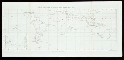 Map charting the voyage of HMS Beagle 1831–6 From the appendix to the narrative of the surveying voyages of His Majesty's ships Adventure and Beagle, between the years 1826 and 1836, describing their examination of the Southern shores of South America, and the Beagle's circumnavigation of the globe / [edited by R Fitzroy]. Work ID: ge4d942p.