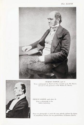 Charles Darwin and Francis Galton. Charles Darwin (top), aged 51. Work ID: p6azqf6u.