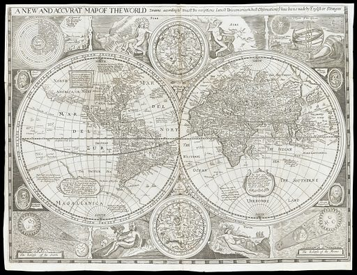 Map of the world. Map of the world from the Early printed book entitled Britain, or a chorographicall description of the most flourishing kingdomes, England, Scotland, and Ireland, and the Ilands adioyning, out of the depth of antiqvitie: beavtified with mappes of the severall Shires of England / written first in Latine by William Camden. Work ID: gjxqjvnm.