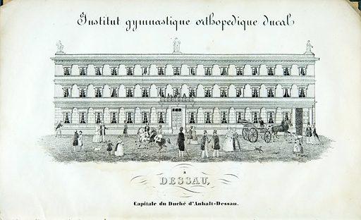 L'Institut gymnastico-orthopédique de Dessau, son organisation et ses effets. Illustration of the Institut gymnastique orthopedique ducal. Work ID: v2j22x5t.