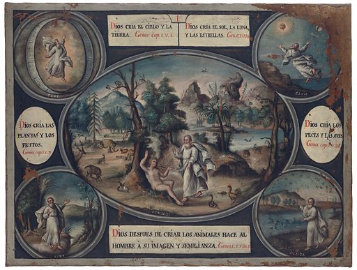 Episodes in the book of Genesis. Oil painting by a Spanish painter. Work ID: kbvkh9nr.