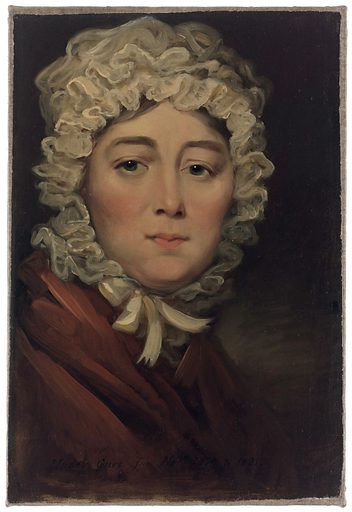 Mrs Bennett, cured of skin disease. Oil painting, 1818/1821. Mrs Bennett, in a lace cap and a brown dress, perfectly recovered. Created between 1818 and 1821. Leeds (England). Mrs Bennett, of Leeds (active 1818–1821). Work ID: ra5cuhhe.