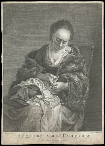 A young woman tending to a a cut on her finger from which drops of blood fall. Line engraving by F Basan, 17 –, after N Berchem (?). She has a cushion on her lap, perhaps meaning that she was sewing, and has injured her hand with the sewing needle. She wears a fur stole, meaning that she is working in the cold. Created between 1700 and 1799. Women. Hand – Wounds and injuries. Sewing. Fur garments. Contributors: Nicolaas Pietersz Berchem (1620–1683); François Basan (1723–1797). Work ID: zba7ak6w.
