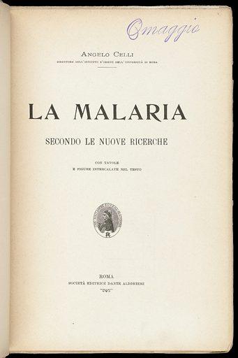La malaria secondo le nuove ricerche. Title page. Work ID: etahxp5n.