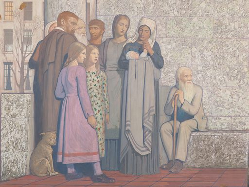 """Painting by Cayley Robinson. The painting shows representatives of the civilian population in a courtyard outside the hospital. They include a mother nursing a baby, children, and mature people including a man resembling Cayley Robinson himself (the scholar wearing a brown cloak, left). The traditional architecture provides an aged man with a ledge to take the weight off his legs. On the right a woman requests help for her young daughter from a doctor at the entrance to the hospital. In the centre a dead tree with a snake in its branches bears a pessimistic message for human beings as the descendants of Adam and Eve: """"Dust thou art and unto dust shalt thou return"""". On the left, a comet passes through the sky over a terrace of Fitzrovia townhouses (the terrace continuing from the previous painting in the pair). Contributors: Frederic Cayley Robinson. Work ID: kczjdhb4."""