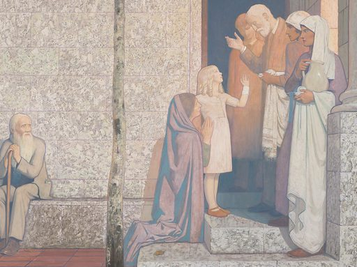 """Painting by Cayley Robinson. The painting shows representatives of the civilian population in a courtyard outside the hospital. They include a mother nursing a baby, children, and mature people including a man resembling Cayley Robinson himself (the scholar wearing a brown cloak, left). The traditional architecture provides an aged man with a ledge to take the weight off his legs. On the right a woman requests help for her young daughter from a doctor at the entrance to the hospital. In the centre a dead tree with a snake in its branches bears a pessimistic message for human beings as the descendants of Adam and Eve: """"Dust thou art and unto dust shalt thou return"""". On the left, a comet passes through the sky over a terrace of Fitzrovia townhouses (the terrace continuing from the previous painting in the pair). Contributors: Frederic Cayley Robinson. Work ID: ewg9nhau."""