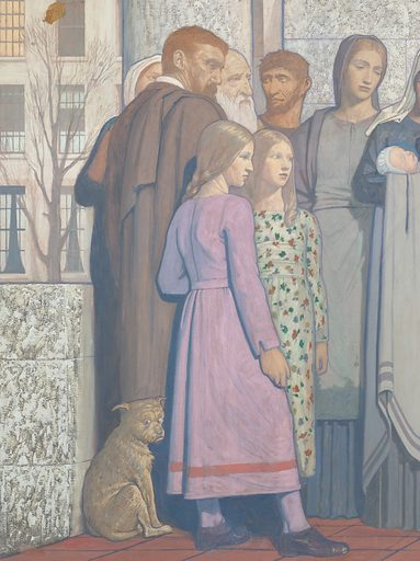 """Painting by Cayley Robinson. The painting shows representatives of the civilian population in a courtyard outside the hospital. They include a mother nursing a baby, children, and mature people including a man resembling Cayley Robinson himself (the scholar wearing a brown cloak, left). The traditional architecture provides an aged man with a ledge to take the weight off his legs. On the right a woman requests help for her young daughter from a doctor at the entrance to the hospital. In the centre a dead tree with a snake in its branches bears a pessimistic message for human beings as the descendants of Adam and Eve: """"Dust thou art and unto dust shalt thou return"""". On the left, a comet passes through the sky over a terrace of Fitzrovia townhouses (the terrace continuing from the previous painting in the pair). Contributors: Frederic Cayley Robinson. Work ID: v6dskpyv."""