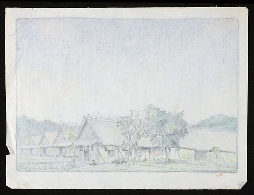 Drawing of huts in a World War II Prisoner of War camp, probably Tamuang, Thailand, part of the Burma-Thailand Railway. By an unknown artist. Work ID: my36a2s3.