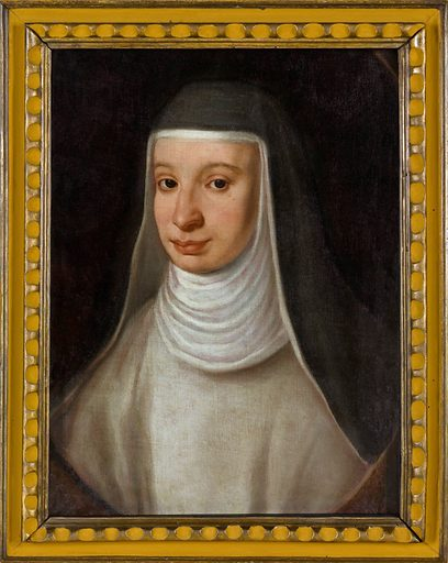 A nun, traditionally identified as Suor Maria Celeste, daughter of Galileo Galilei. Oil painting by an unidentified painter. Work ID: twt9x8kd.
