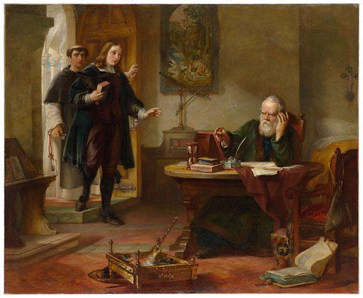 Milton visiting Galileo when a prisoner of the Inquisition. Contributors: Solomon Alexander Hart. Work ID: g67c6er9.