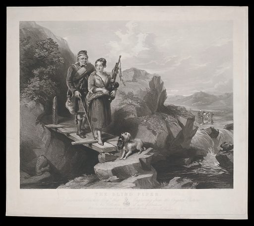 A young woman guiding a blind bag-piper over a bridge in Scotland. Stipple engraving by SW Reynolds, 1848, after F Tayler. Created March 1848. Blind. Blind musicians. Bagpipers. Sigismund Rücker, 1810–1875 Art collections (). Contributors: Frederick Tayler (1802–1889); Sigismund Rücker (1810–1875). Work ID: u5q98kj9.