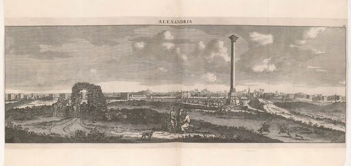 Illustration showing panorama of Alexandria. Work ID: a789uc7j.
