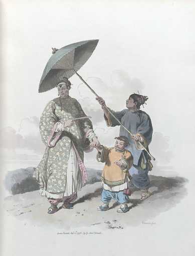 A Chinese Lady and her son, attended by a servant. Clothes. Work ID: nbvjdzjj.