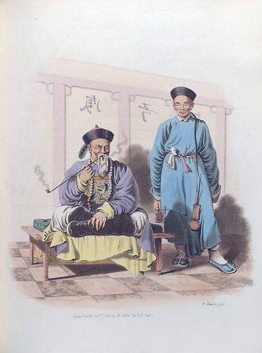 A Mandarin, attended by a Domestic. Clothes. Work ID: s95b5d4n.