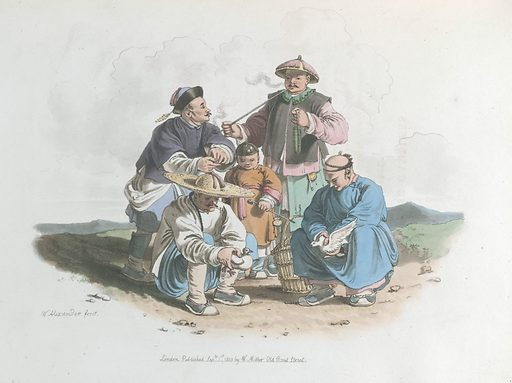 Chinese Gamblers, with fighting quails. Clothes. Work ID: aevknknr.