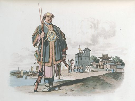 A Soldier of Chu-San, armed with a Matchlock Gun. Clothes. Work ID: rxhmdn7a.