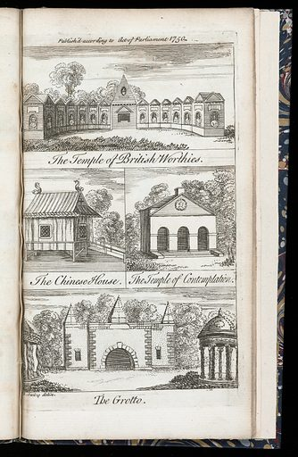 A description of the gardens of Lord Viscount Cobham at Stow in Buckinghamshire. Including pictures of The Temple of British Worthies, The Chinese House, The Temple of Contemplation and The Grotto. Garden History. Work ID: tn83m8zm.