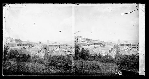 Buildings, Hong Kong. Photograph by John Thomson, 1868/1871. View taken from a high point on Murray Battery looking towards the west with Queens Road in the centre. Foliage and rooftops in foreground. The building with two towers on the left of the skyline is the first Roman Catholic cathedral. On the extreme left hand side is Zetland Hall. Contributors: J Thomson. Work ID: rkvsk6m3.