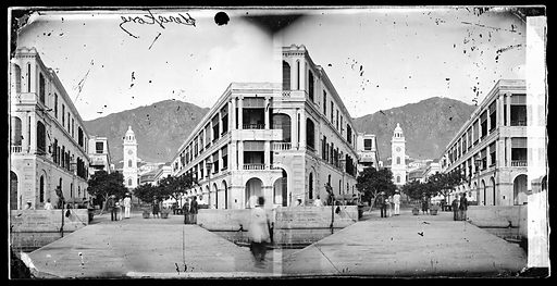 Avenue lined with colonial buildings, Hong Kong. Photograph by John Thomson, 1869. Contributors: J Thomson. Work ID: mym2a34z.