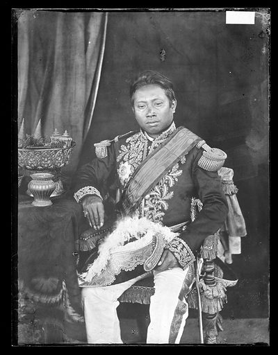 The late King Noroudin. Cambodia. Photograph by John Thomson, 1865/1866. Contributors: J Thomson. Work ID: n82tpvb2.