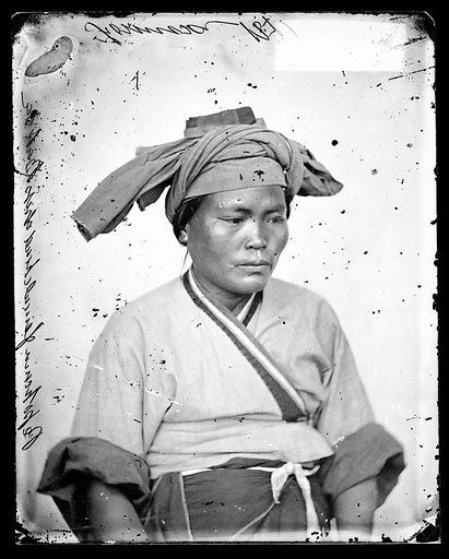 Pepohoan female, headdress, Baksa, Formosa, John Thomson. Baksa, Formosa [Taiwan]. Photograph by John Thomson, 1871. Contributors: J Thomson. Work ID: dypq6ndt.