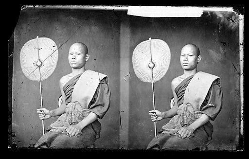 Siamese Buddhist bonze. Siam [Thailand]. Photograph by John Thomson, 1865. Contributors: J Thomson. Work ID: t4vv4peh.