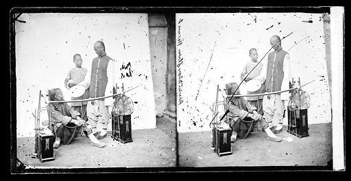 Pekinese, mender of broken glassware. China: a mender of broken chinaware, Beijing. Photograph by John Thomson, 1869. Contributors: J Thomson. Work ID: u8344n6d.