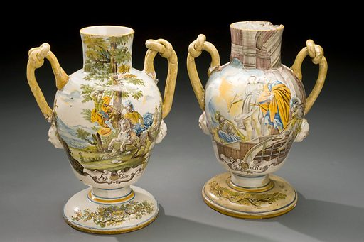 Pair of pharmacy storage jars, Naples, Italy, 1756. These earthenware jars are illustrated with scenes from both the Old and New Testaments of the Bible. Storage vase. Contributors: Science Museum, London. Work ID: pbfbt2tn.