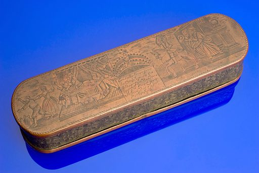 Tobacco box, Netherlands, 1680–1800. This tobacco box is likely to have been the property of a wealthy individual who could afford such a well engraved item. Contributors: Science Museum, London. Work ID: z4wfa8rz.