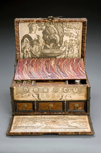 Medicine chest, wooden, iron-bound and brass covered, lock broken, decorated with studs and embossed design outside, and tooled leather and prints inside, containing 3 pewter topped glass bottles and one other bottle and plan of Cracow, European, 1751–1800. Full view to show hidden panel. Graduated grey background. Contributors: Science Museum, London. Work ID: urdjspwj.