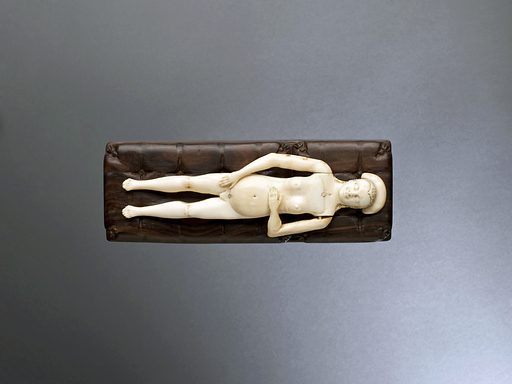 Ivory anatomical figure, Europe, 1601–1800. Ivory female anatomical figures were almost always shown as pregnant, like this example. The torso is removable to show the intestines, heart, lungs, stomach and liver. The intestines can also be removed to show a well developed foetus. Female models normally came as a pair with a male equivalent and were popular in the 1600s and 1700s. The organs are not very detailed so it is unlikely that the model was used for medical teaching. The figure was possibly used to teach young couples about anatomy and pregnancy or it may have been a collector's item. Contributors: Science Museum, London. Work ID: pftwk9bj.