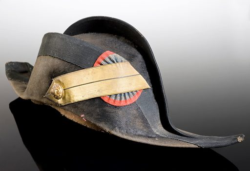 Military surgeon's hat, France, 1830–1880. Worn by a military surgeon, this cocked hat is made from beaver skin and lined with silk. Part of a colourful uniform with plenty of braid, buttons and buckles, it would have become terribly unhygienic over the course of a military campaign. Contributors: Science Museum, London. Work ID: hyj27gwh.