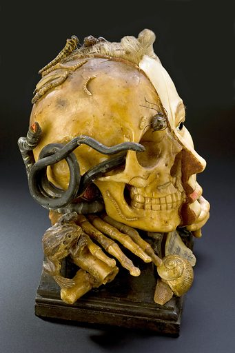 Wax model of a female head depicting life and death, European, possibly 18th century. With plaque giving quote from Bible; Ecclesiastes, Chapter 1, verse 2; Vanitas vanitates et omnia vanitas. Contributors: Science Museum, London. Work ID: rry5237e.