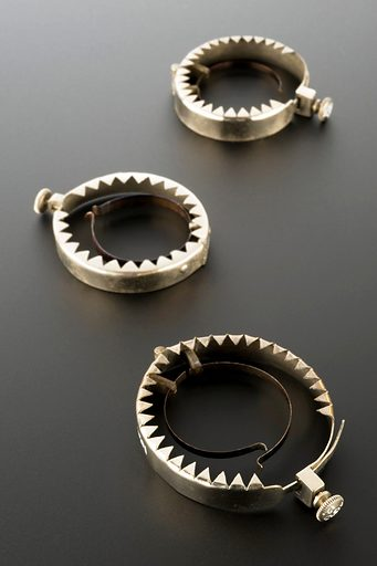 A159313, A159312 & A159311: Jugum penis, steel, nickel-plated, probably British, 1880–1920. Graduated matt black perspex background. Contributors: Science Museum, London. Work ID: qgekqeuc.