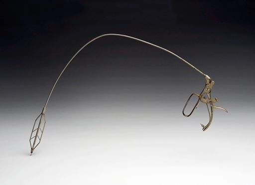 Cardiospasm dilator, Germany, 1925–1940. This object is used to treat cardiospasm or oesophageal achalasia. This is where the lower part of the oesophagus (food pipe) becomes temporarily closed as the muscles go into spasm and cannot relax. Swallowing becomes impossible. The instrument is introduced into the mouth and by pulling the lever the dilator head widens in order to open the food pipe. Contributors: Science Museum, London. Work ID: g7wbw9b2.
