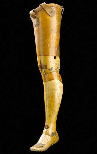 Artificial left leg, Europe, 1901–1940. This artificial left leg was made for someone who had their leg amputated above the knee. It is made from willow and leather. It follows the basic design established by the so-called Anglesey leg. This was named after the Marquis of Anglesey. He wore a leg made to this design after he lost one during the Battle of Waterloo in 1815. Earlier versions were also called 'Clapper' legs after the sound the leg made when fully extended. Artificial leg. Prostheses. Contributors: Science Museum, London. Work ID: tqh828p5.