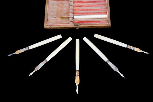 Set of six vaccinators, France, 1860–1871. The vaccinators used for smallpox vaccination have a spear-like head to prevent the blade going too deep into the skin. The blade would have been dipped in lymph material from a smallpox pustule. Pustules are skin blisters filled with pus that appear approximately five to eight days after vaccination. The blade would then be used to vaccinate another person. This type of arm-to-arm vaccination was made illegal in 1898, as it could transmit other diseases such as syphilis. Specially prepared animal lymph was used instead. Vaccination did not give life-long immunity and had to be repeated. Contributors: Science Museum, London. Work ID: rjvjatu7.
