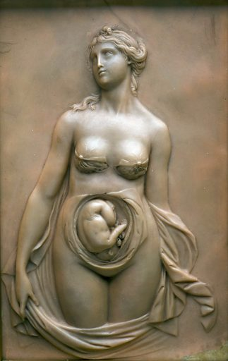 Female figure, part of skin and wall of uterus removed showing foetus in utero. Contributors: Science Museum, London. Work ID: bp94eynf.
