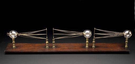 Eye defect teaching model, on wood stand, probably English, 1801–1900. Full view, graduated black background. Contributors: Science Museum, London. Work ID: t5u3f3u8.