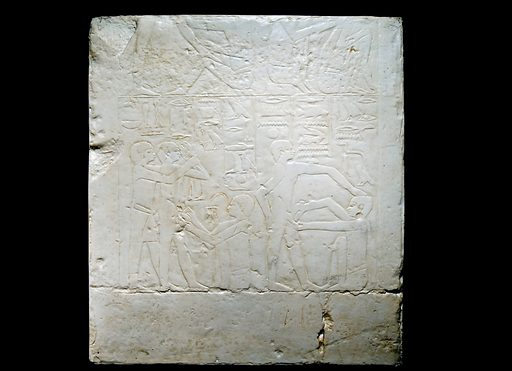 Framed plaster copy of bas relief showing surgical operations, original Egyptian, 2500BC, copy European, 1801–1930. Full view, black background. Contributors: Science Museum, London. Work ID: ata2s47t.